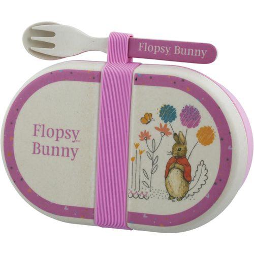 Beatrix Potter Peter Rabbit Organic Bamboo Snack Box & Cutlery Set - Flopsy Bunny A28858