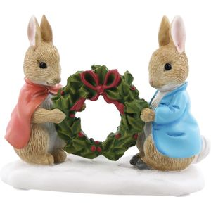 Beatrix Potter Peter Rabbit & Flopsy Holding Holly Wreath Figurine