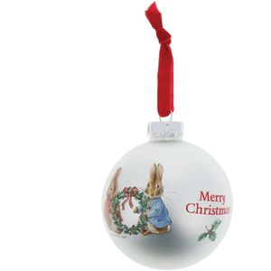 Beatrix Potter Peter Rabbit Christmas Bauble - Peter & Flopsy with Holly Wreath