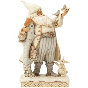 Heartwood Creek White Woodland Santa Figurine - Winter Santa with Animals