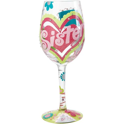 Lolita wine glass with hand painted Hearts Sister design