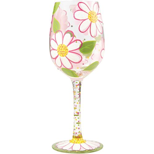Lolita Wine Glass with hand painted Daisy Design
