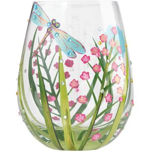 Lolita Hand Painted Stemless Glass - Dragonfly