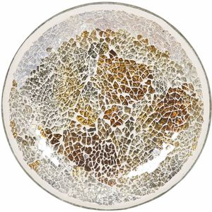 Aroma Jar Candle Plate: Gold & Silver Crackle