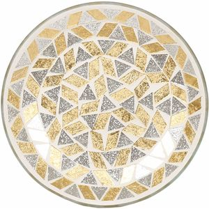 Aroma Jar Candle Plate: Gold & Silver Glitter