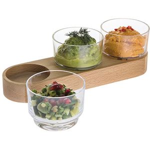 Dartington Crystal Fusion Bowl Trio (Glass & Wood)