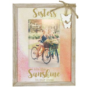 "Vintage Boutique Frame - Sisters Are Sunshine 4"" x 6"