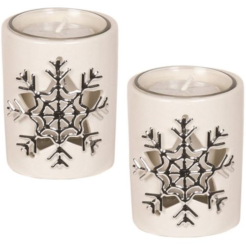 Aromatize Votive Candle Holder Set of 2: Snowflake