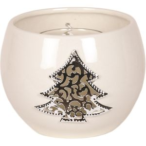 Aroma Festive Ceramic Tea Light Candle Holder: Metallic Christmas Tree