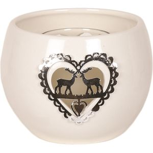 Aroma Festive Ceramic Tea Light Candle Holder: Metallic Reindeers