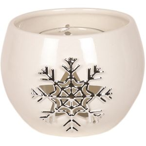 Aroma Festive Ceramic Tea Light Candle Holder: Metallic Snowflake