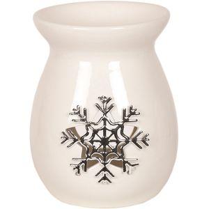 Aroma Wax Melt Burner - Ceramic with Metallic Snowflake
