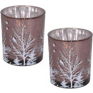 Votive Candle Holders Set of 2: Christmas Tree (Mauve)
