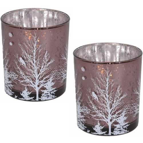 Votive Candle Holders Set of 2: Christmas Tree (Mauve)