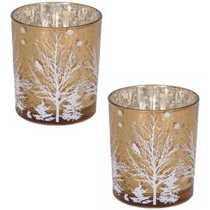 Votive Candle Holders Set of 2: Christmas Tree (Copper)