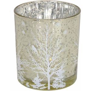 Festive Tea Light Candle Holders 2 Pack - Pale Gold & White Tree