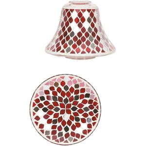 Aroma Jar Candle Shade & Plate Set: Red Mirror Teardrop