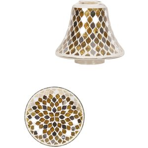 Aroma Jar Candle Shade & Plate Set: Gold Mirror