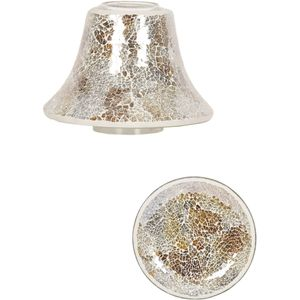 Aroma Jar Candle Shade & Plate Set: Gold & Silver Crackle