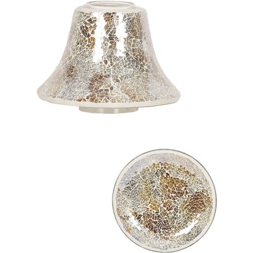 Aromatize Jar Candle Shade & Plate Set Gold & Silver Crackle