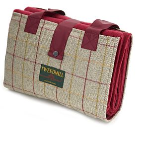 Tweedmill Leisure Picnic Rug - Beige & Wine Tweed
