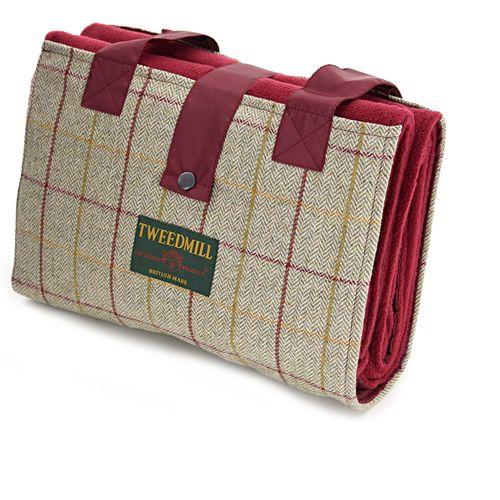 Tweedmill Leisure Picnic Rug - Beige & Wine Tweed