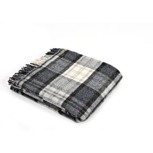 Tweedmill Pure New Wool Block Check Throw - Cottage Grey