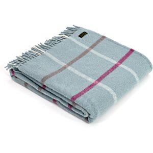 Tweedmill Pure New Wool Block Check Throw - Duck Egg