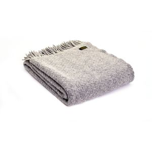 Tweedmill Pure New Wool Wafer Throw - Silver Grey