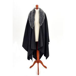 Fleece Ruana with Faux Colour (Grey/Charcoal)