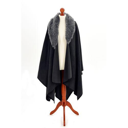 Tweedmill Fleece Ruana with Faux Collar - Grey with Charcoal Collar