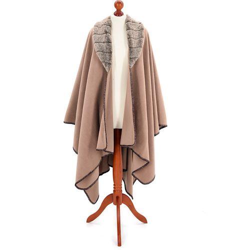 Tweedmill Fleece Ruana with Faux Collar Camel with Mink Collar