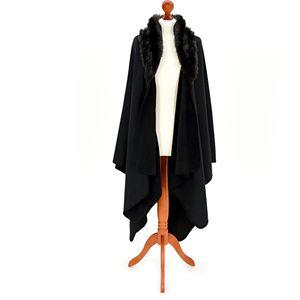 Fleece Ruana with Faux Collar (Black/Black)