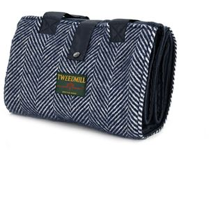 Tweedmill Leisure Picnic Rug - Navy Fishbone
