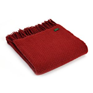 Tweedmill Pure New Wool Wafer Throw - Winter Red