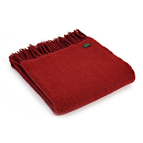 Tweedmill Pure New Wool Wafer Throw Winter Red