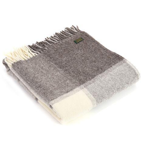 Tweedmill Pure New Wool Block Check Throw - Jacob Grey