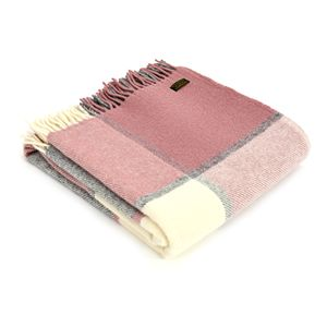 Tweedmill Pure New Wool Block Check Throw - Dusky Pink