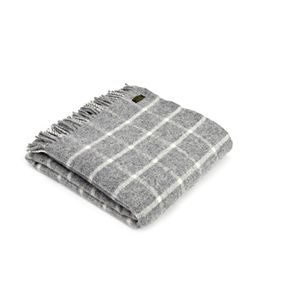 Tweedmill Pure New Wool Block Check Throw - Grey