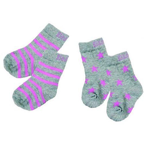Marl Grey & Pink Socks 0-6 Months