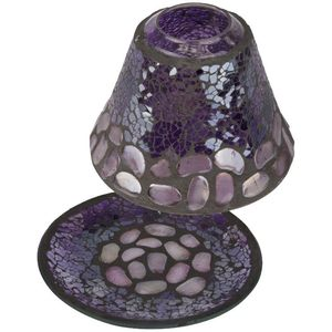 Purple Pebbles Candle Lamp Shade & Plate Gift Set