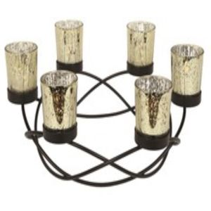 Round Centrepiece Metal Tea Light Candle Holder - Gold