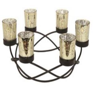 Round Centrepiece Metal Tea Light Candle Holder - Gold