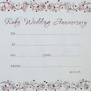 40th Ruby Anniversary Invitations pack of 10
