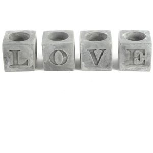 "Set of 4 T Lite Candle Holders ""Love"""