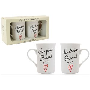 Leonardo 2 Ceramic Mugs Set - Bride & Groom