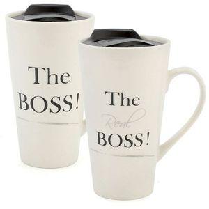 Ceramic Travel Mugs Set - The Boss & The Real Boss