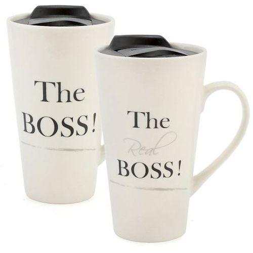 Ceramic Travel Mugs Set - The Boss! & The Real Boss!