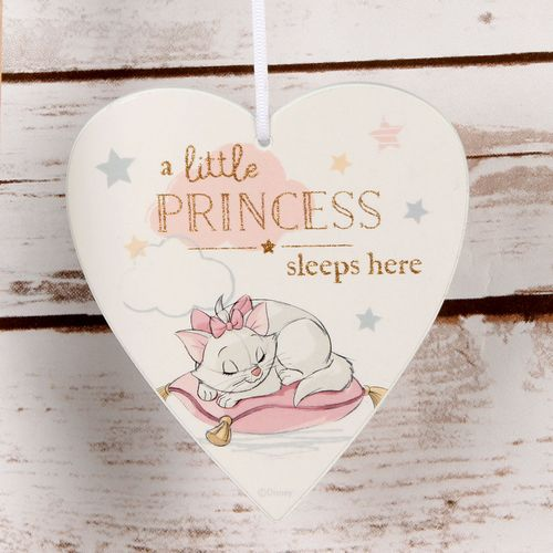 Disney Magical Beginnings Heart Plaque - A Little Princess Sleeps Here Marie Aristocat