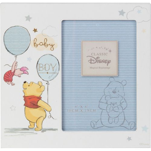 """Disney Magical Beginnings Photo Frame - Pooh Baby Boy Holds One 4"""" x 6"""" Portrait Photograph"""